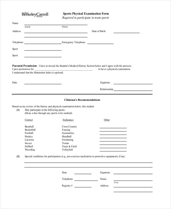 Sample Physical Examination Form   Free Documents In Word Pdf