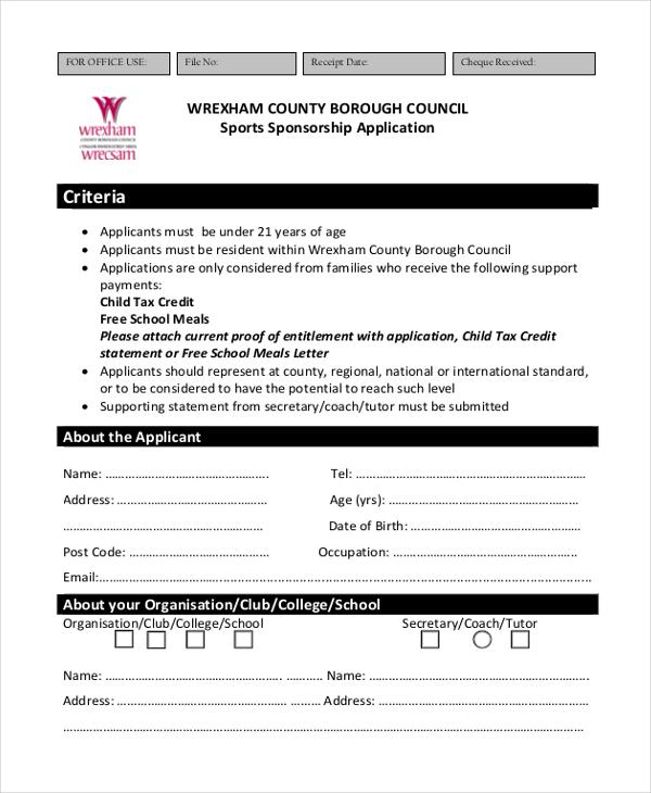 sports sponsorship application