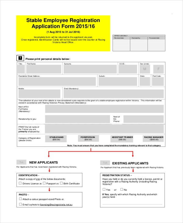 Sample Employee Application Form   Free Documents In Word Pdf