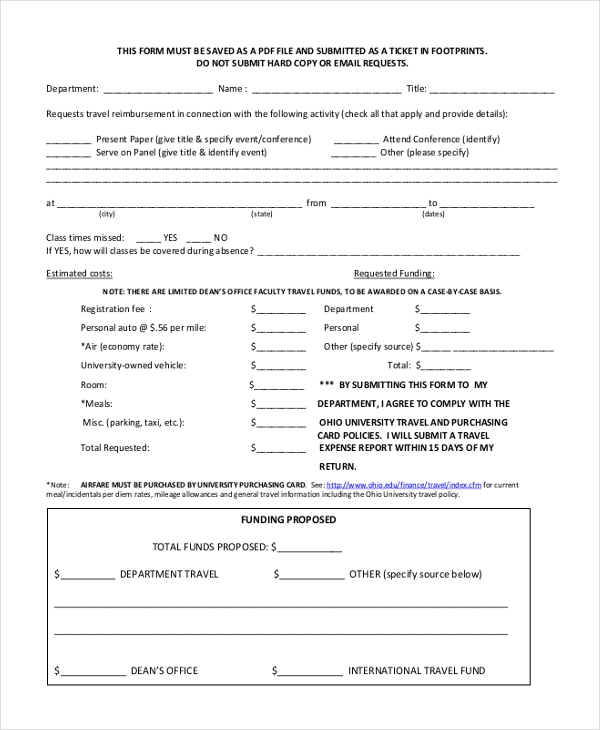 staff travel authorization form