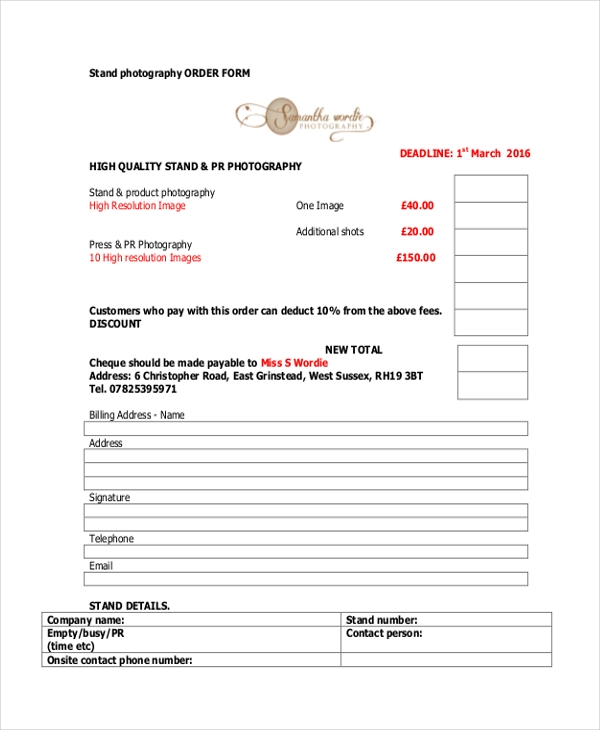 stand photography order form