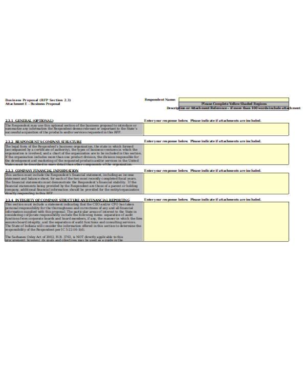 standard business proposal form