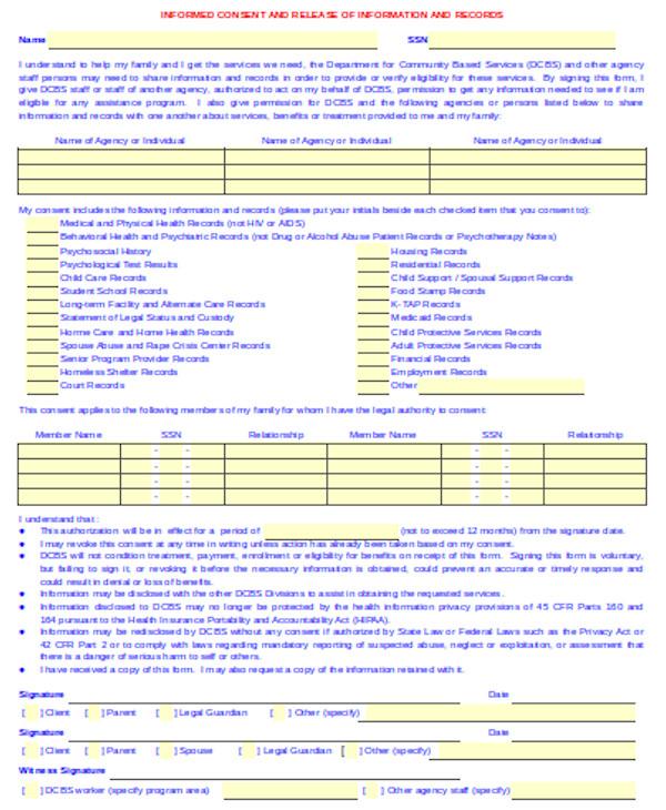 standard informed consent form