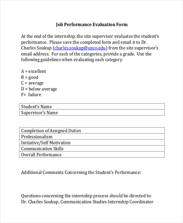 standard job performance evaluation form
