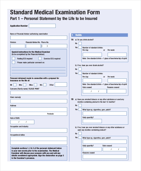 Sample Medical Examination Form   Free Documents In Pdf