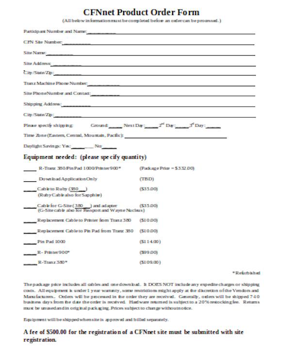 standard product order form