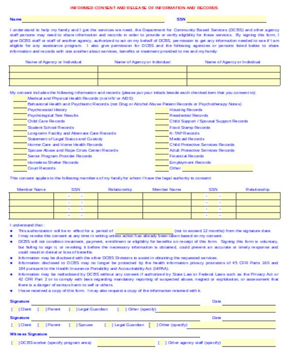 standard release of information form