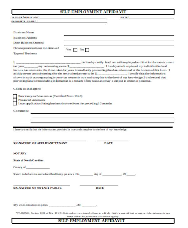 standard self employment form
