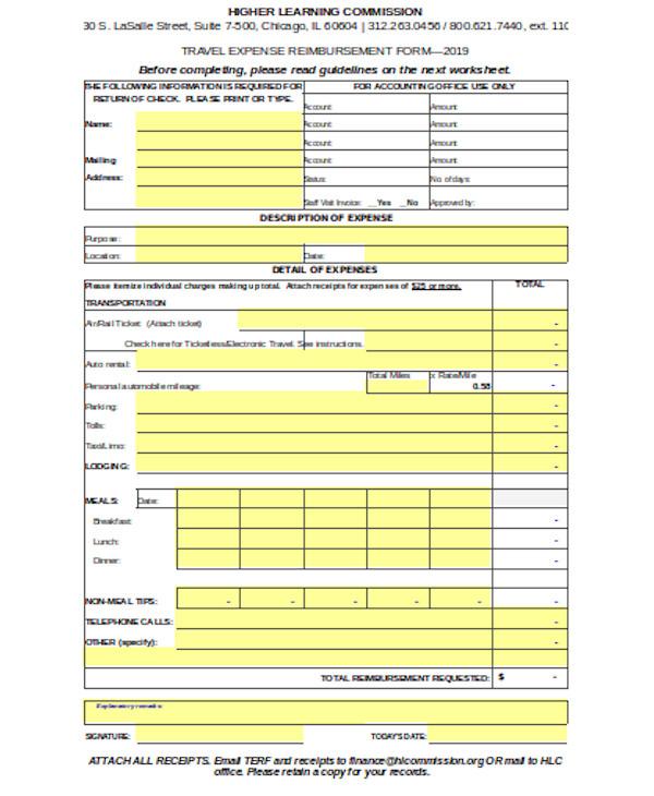 standard travel expense form