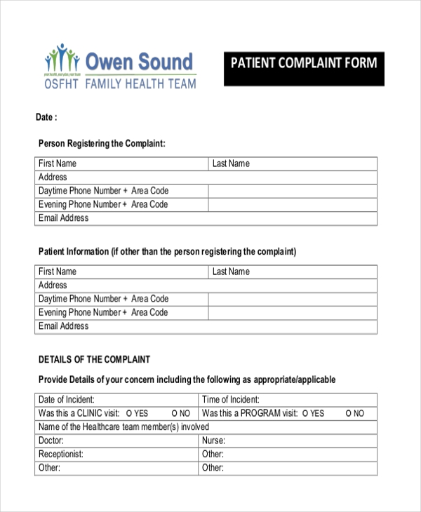Sample Patient Complaint Form - 10+ Free Documents In Pdf