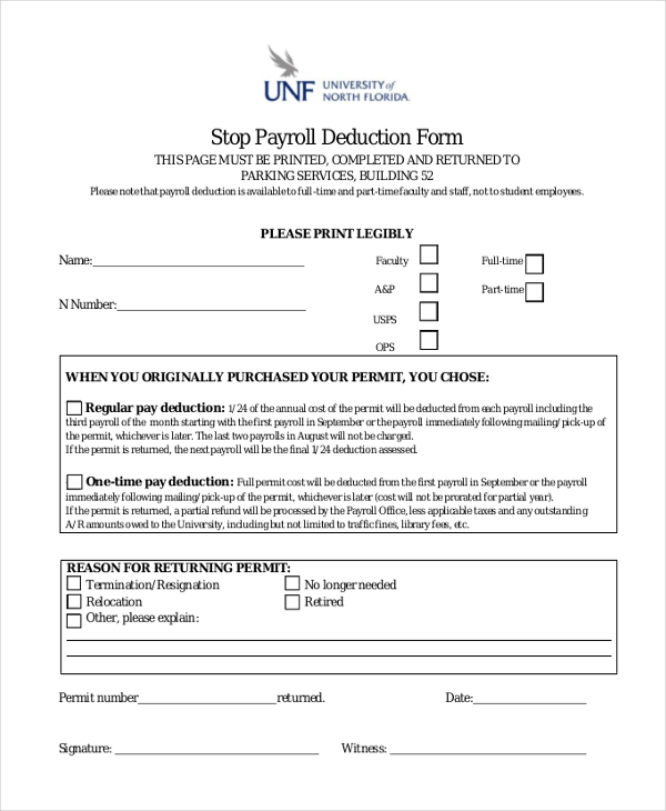 stop payroll deduction form