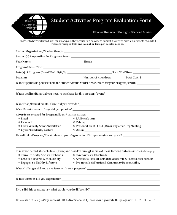 Sample Program Evaluation Form 11 Free Documents in PDF – Program Evaluation Form