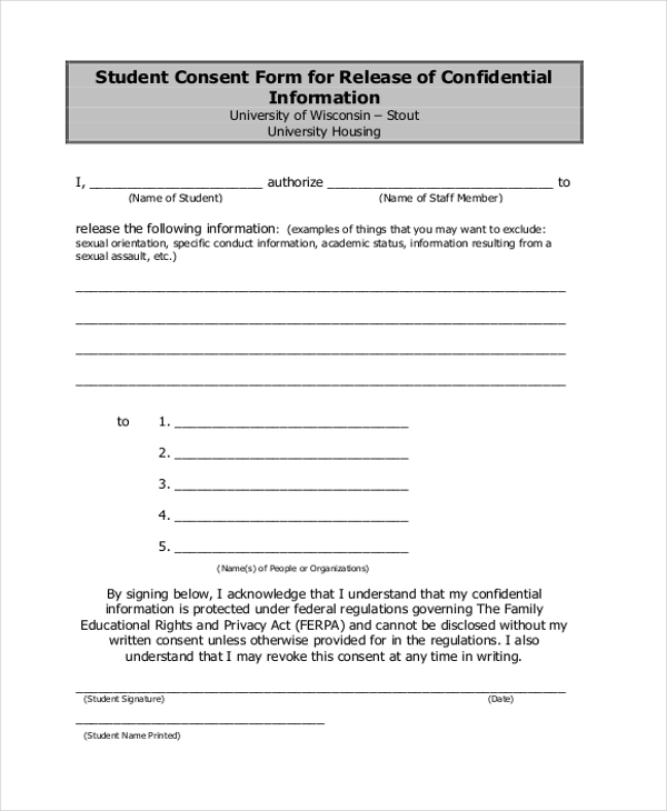 Sample Student Consent Form   Sample Free Documents In Pdf