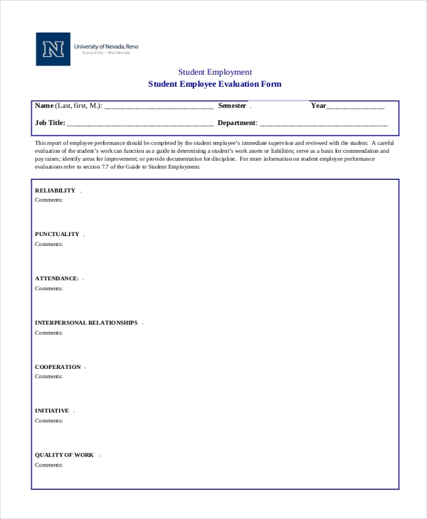 Sample Employee Evaluation Form   Free Documents In Word Pdf