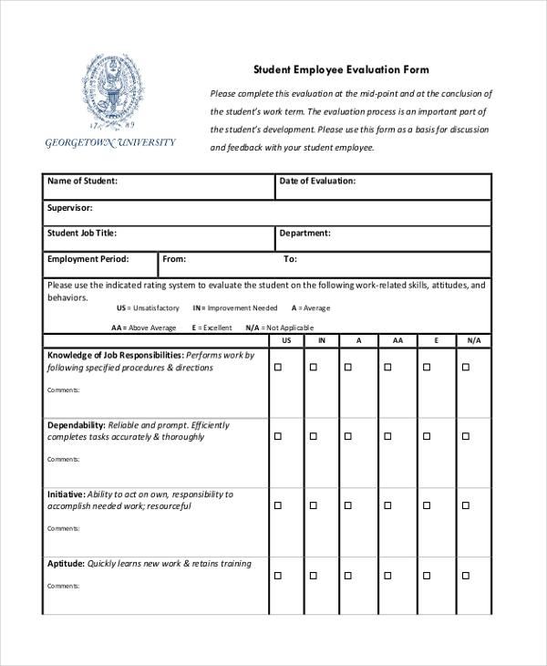 Sample Job Performance Evaluation Forms 10 Free Documents in – Sample Student Evaluation Forms