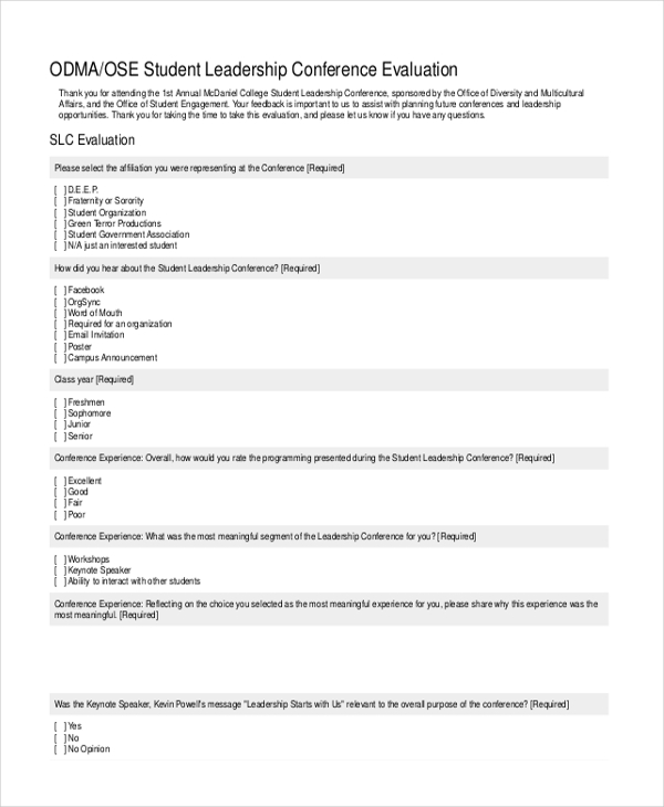 Leadership Evaluation Form Free Basic Detailed Employee