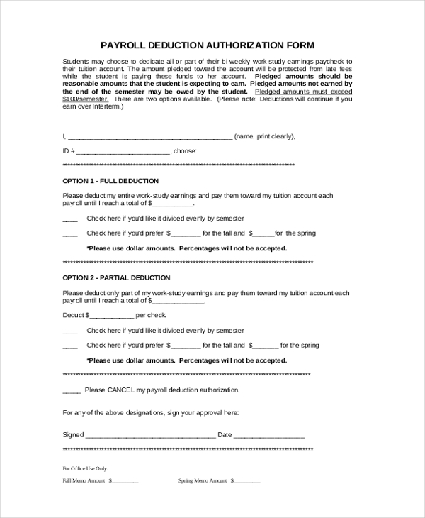 student payroll deduction authirized form