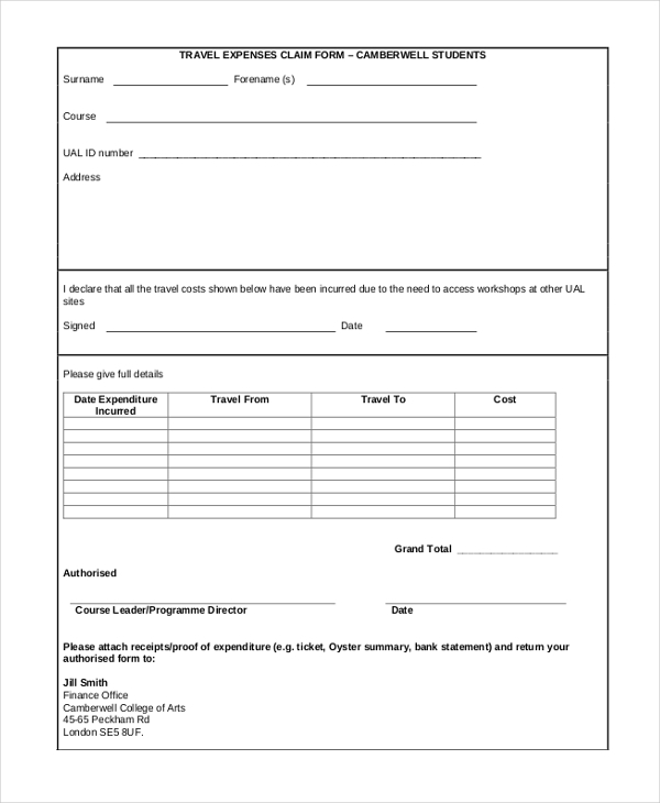 student travel expense claim form