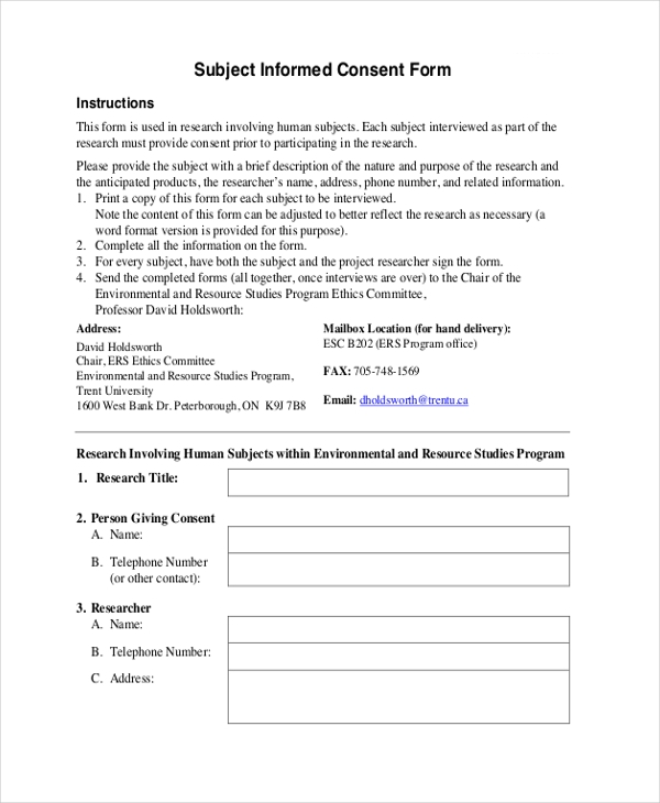 subject informed consent form