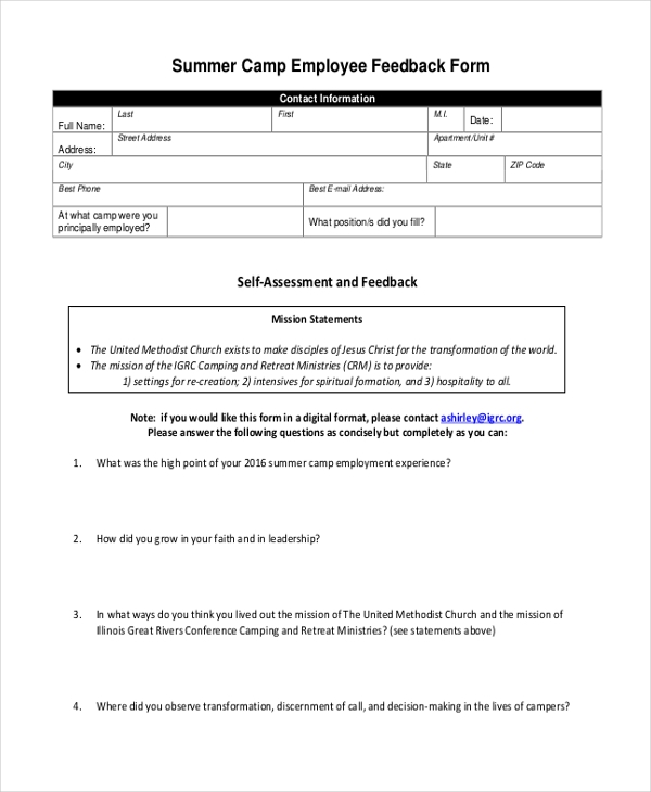 Sample Employee Feedback Forms   Free Documents In Pdf