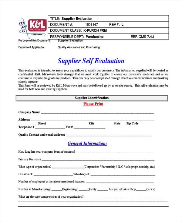 supplier self evaluation