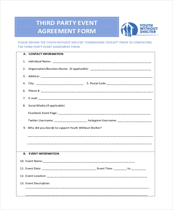 third party event agreement form