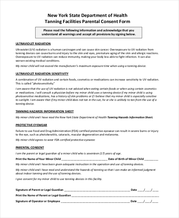 tanning facilities parental consent form
