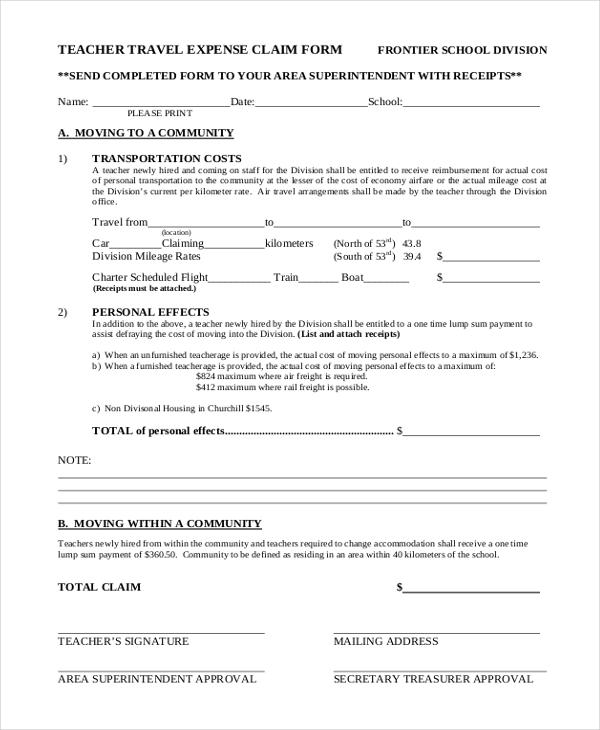 sample expense claim form