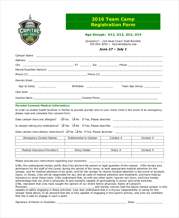 team camp registration form