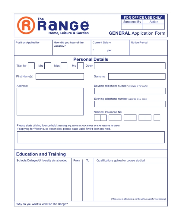 the range general application form