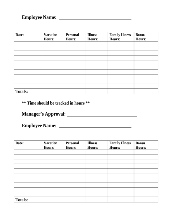time off tracking form