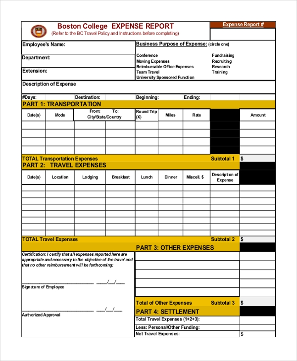 Sample Expense report form 11 Free Documents in Excel PDF – Sample Expense Report