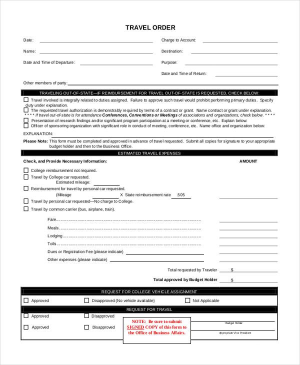 travel order form
