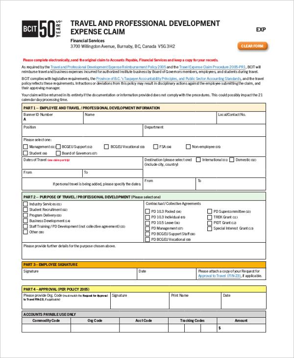travel and professional development expense reimbursement