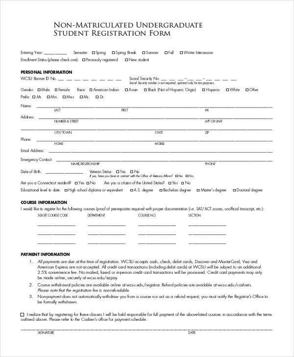 undergraduate student registration form