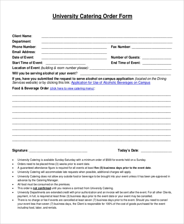 Sample Catering Order Form 10 Free Documents in PDF – Event Order Form