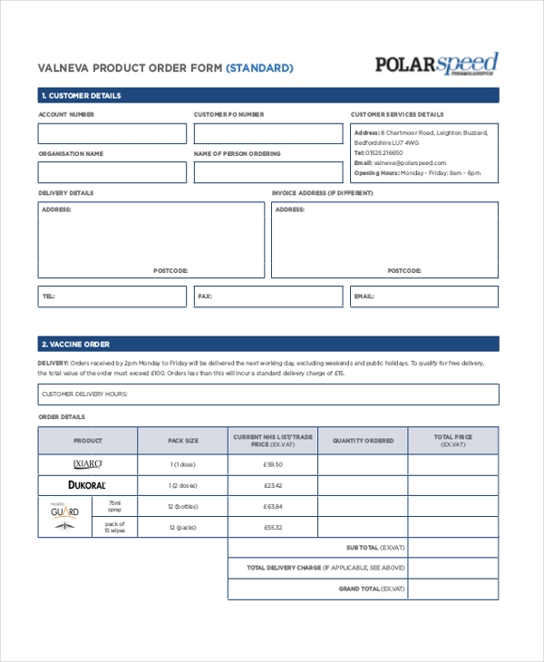 Sample Product Order Form   Free Documents In Pdf