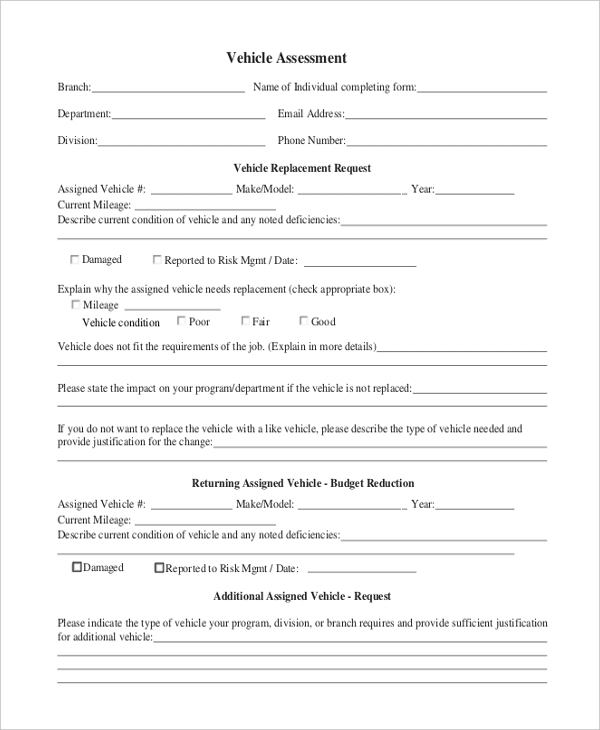 Vehicle Assessment Form