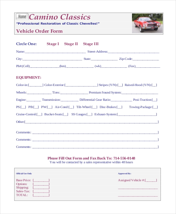 Sample Order Form 20 Free Documents in PDF – Vehicle Order Form