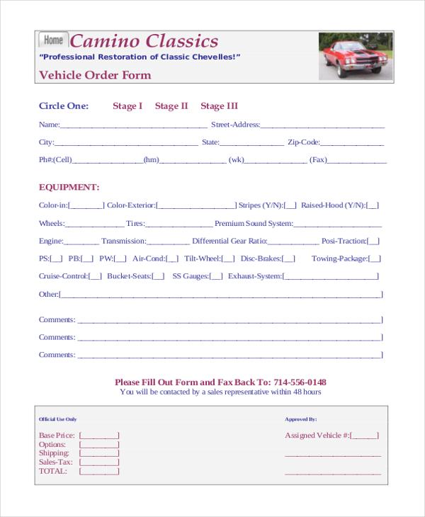 vehicle order form