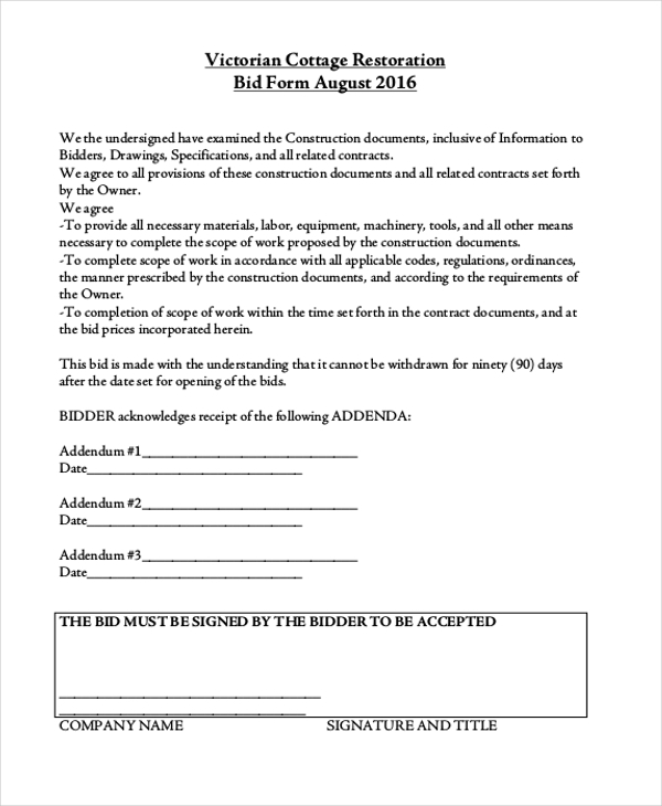 victorian cottage restoration bid form