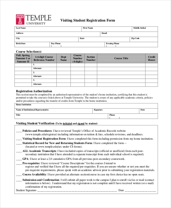 visiting student registration form