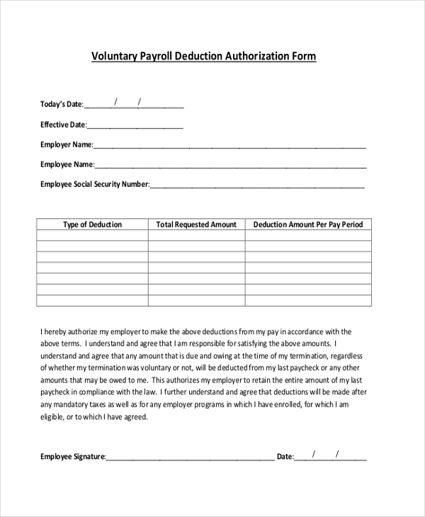 voluntary payroll deduction authorization form