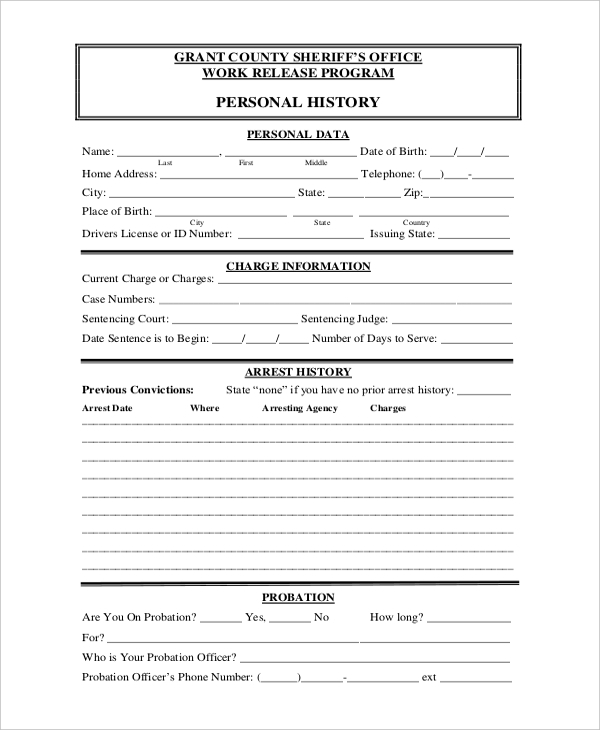 work release application form