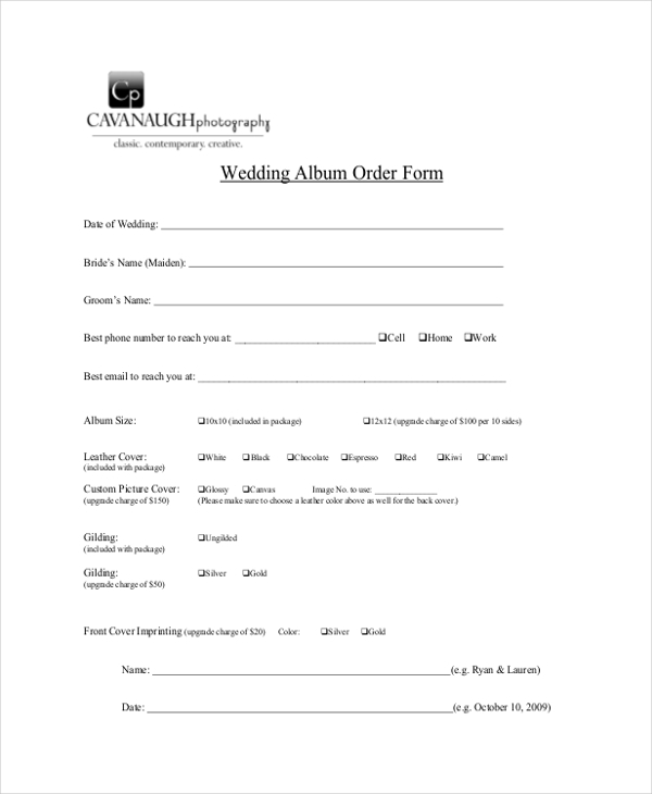 wedding photography order form1