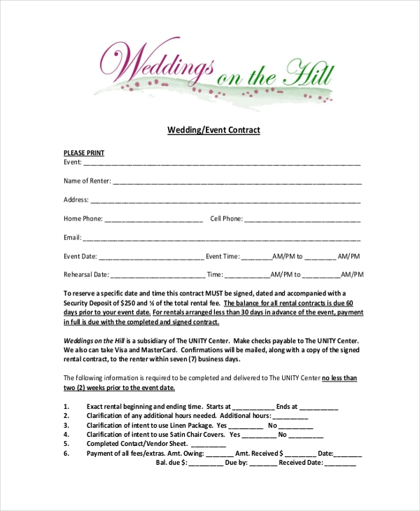 Wedding Contract Templates Sample Printable Wedding Contract