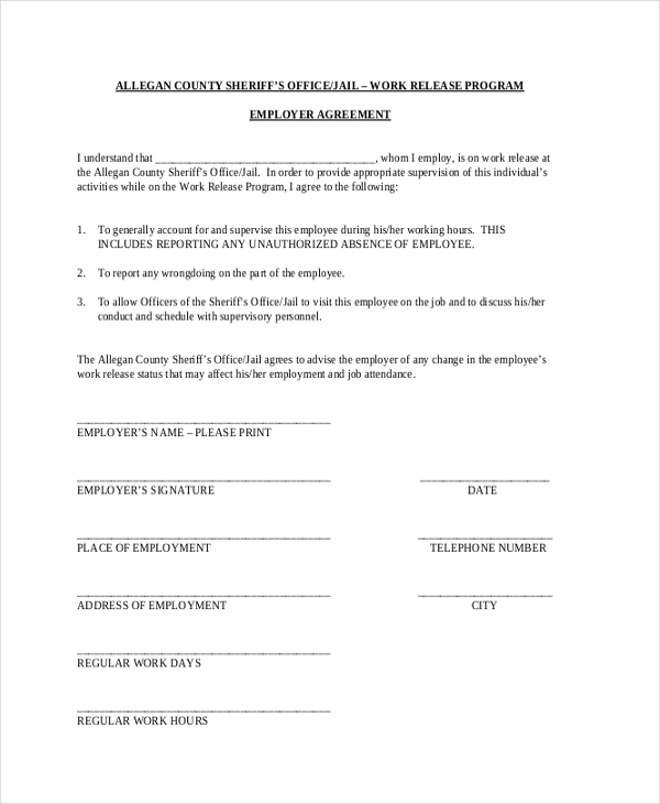work release program information form