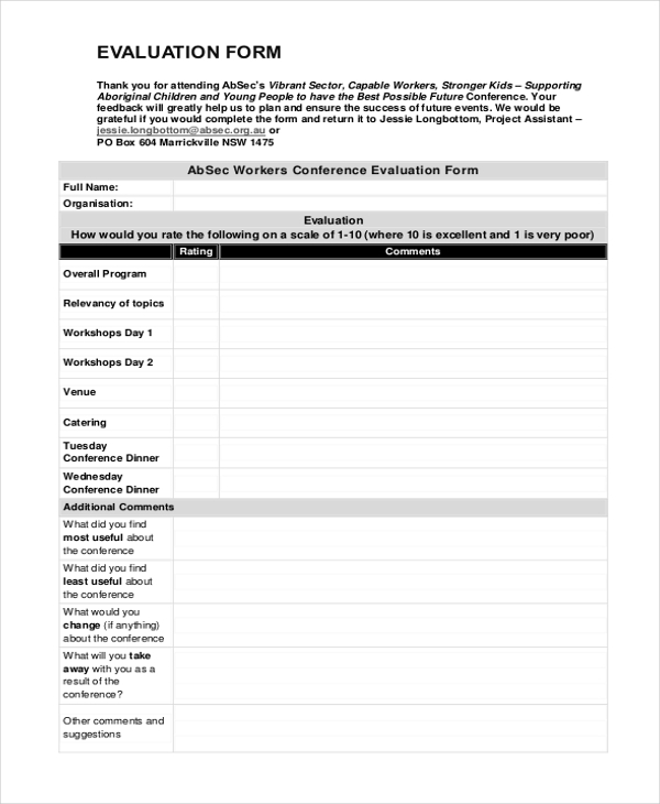 Sample Conference Evaluation Form - 10+ Free Documents In Word, Pdf