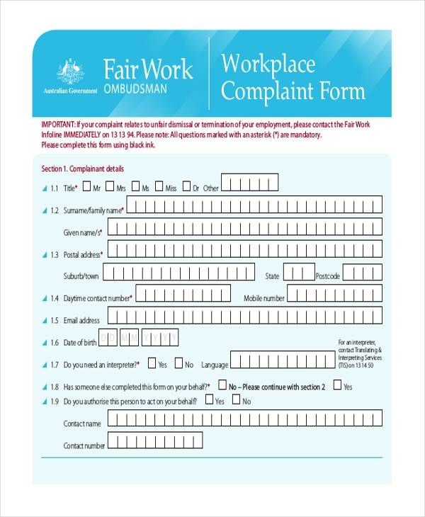 Sample Complaint Form   Free Documents In Word Pdf