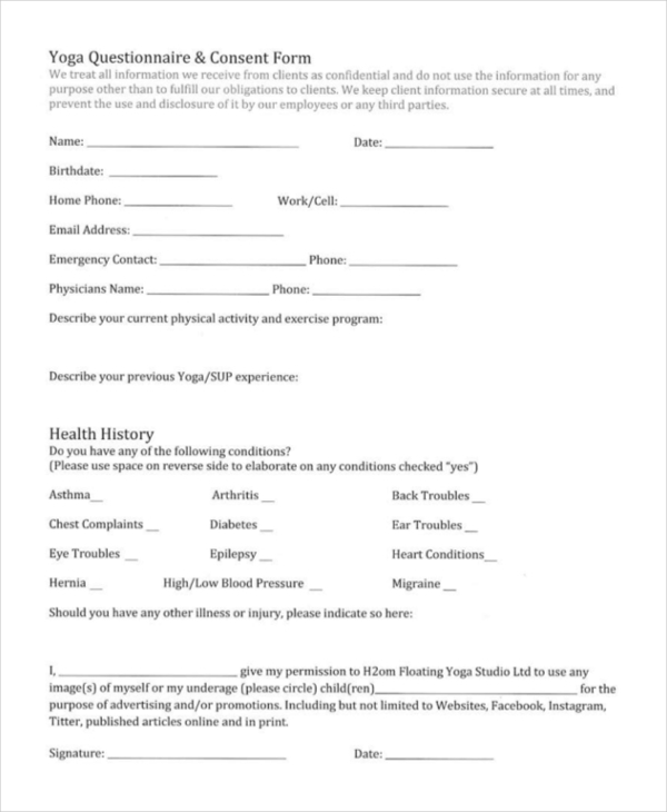 yoga questionare consent form